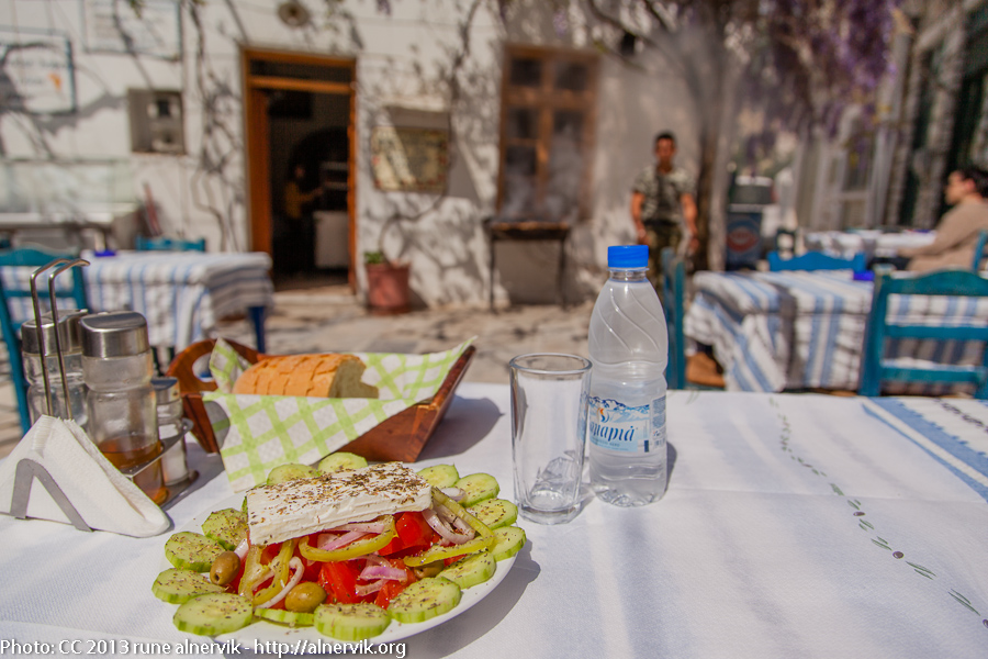 Greek salad, Yiannis Tavern, Chalki, Naxos
